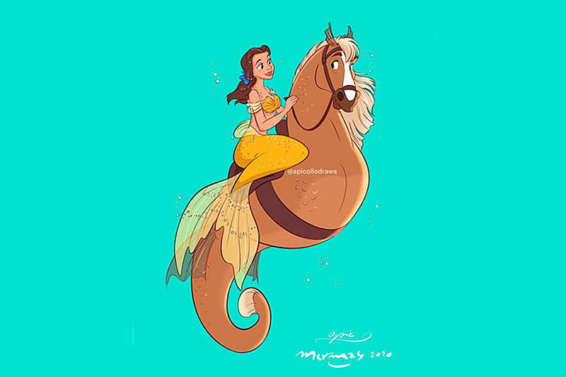 迪士尼公主变美人鱼,谁的鱼尾巴最美 睡美人的人鱼姬艳压全场