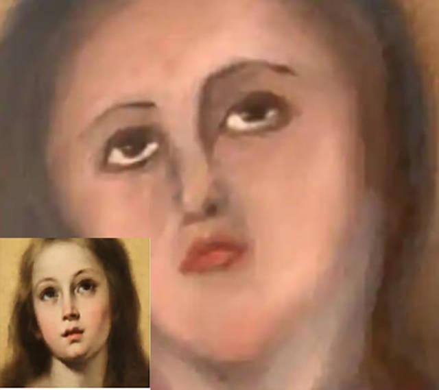 """原创 花费8000元后,西班牙艺术家两次收获""""17世纪古画毁容照"""""""