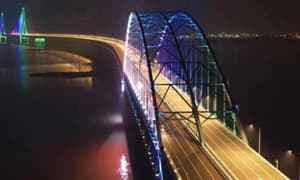 """有多项""""世界之最""""的沪苏通长江公铁大桥亮化工程完工"""