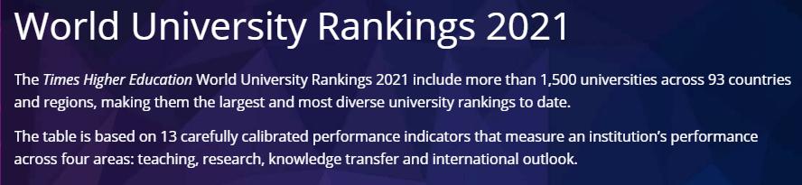 最新! 2021泰晤士世界大学排名发布, 加拿大再度提升!