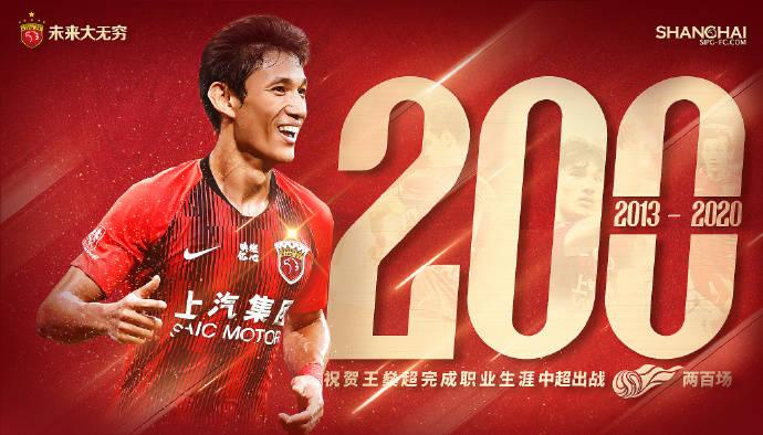 上港庆祝王燊超战中超200场 本赛季已进3球