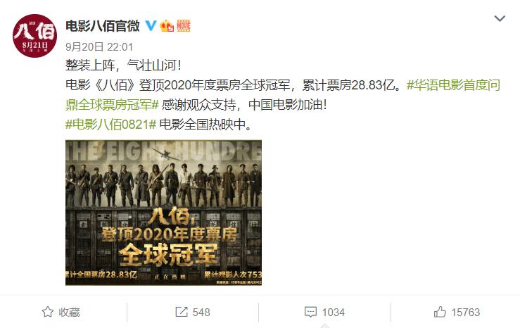华语电影首度!《八佰》登顶2020年度票房全