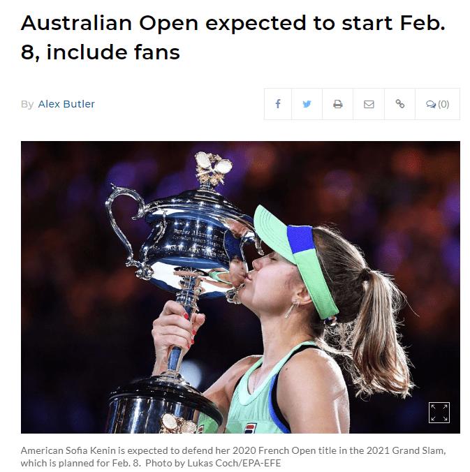 2020澳网确定推迟开赛 澳洲网协出5200万美元防疫
