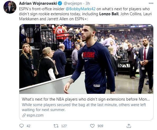 ESPN名记沃神曝出新奥尔良鹈鹕没能与朗佐-鲍尔达成提早续约协议