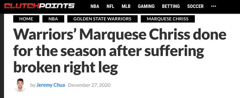 赛季报销!勇士再迎噩耗 深陷伤病魔咒 又要毁掉一年?