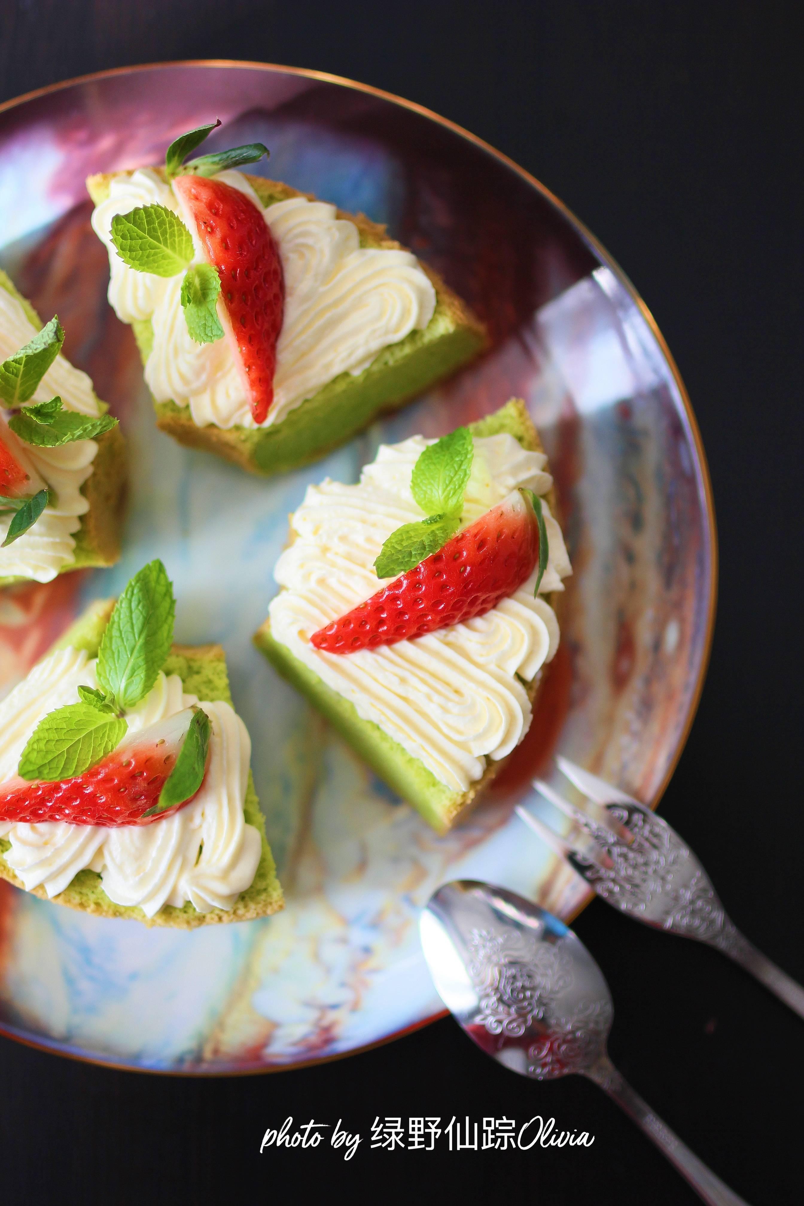 奶油草莓绿戚风