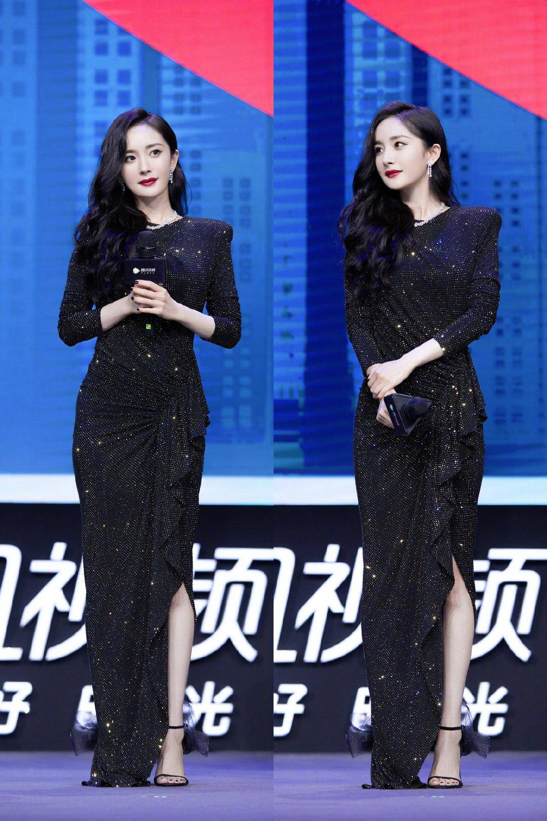 原创             杨幂不规则亮片裙出镜,在素净日式背景衬托下,展现撩人身段