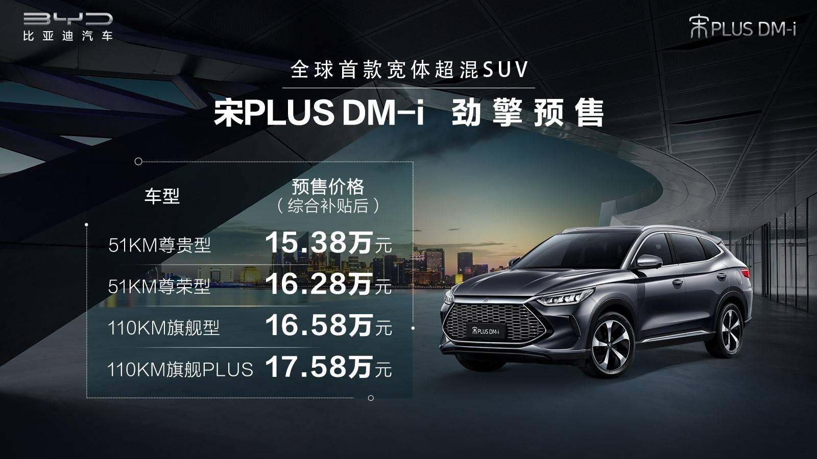 比亚迪宋PLUS DM-i开启预售 定价15.38-17.58万元