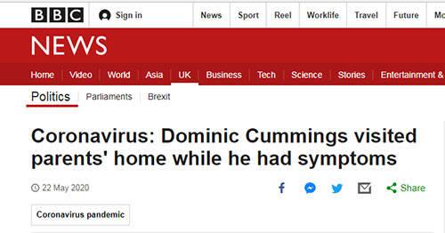 """""""落跑""""英国首相顾问又被曝料:""""封城""""期间出现感染症状后,他前往400多公里外父母家_中欧新闻_欧洲中文网"""