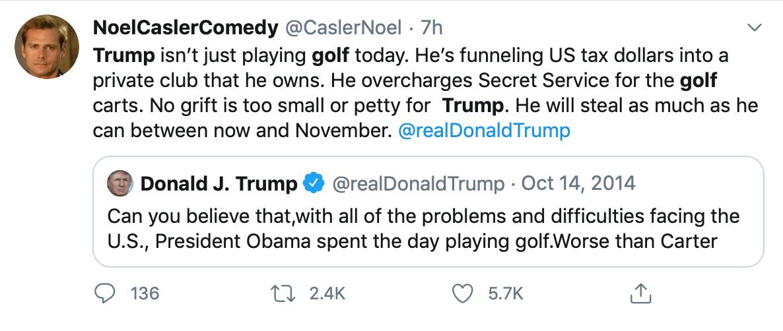 美国死亡数逼近10万,特朗普去打高尔夫了…且未戴口罩