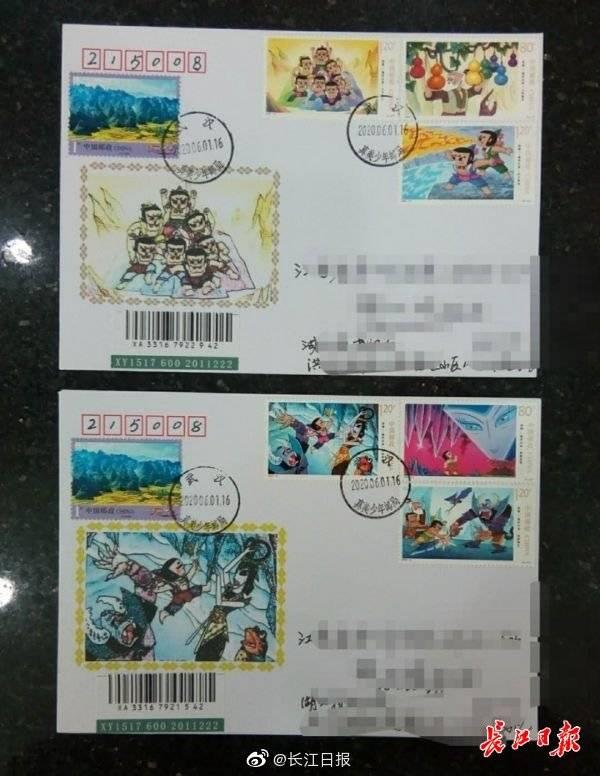 """""""葫芦娃""""邮票今日发行,武汉邮友带着5岁儿子打卡"""