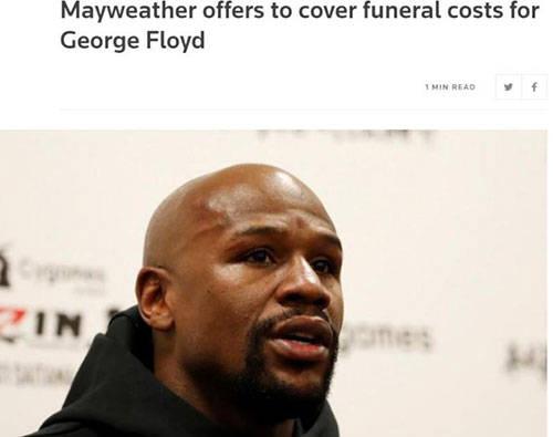 外媒:梅威瑟将为遭暴力执法致死黑人支付葬礼费
