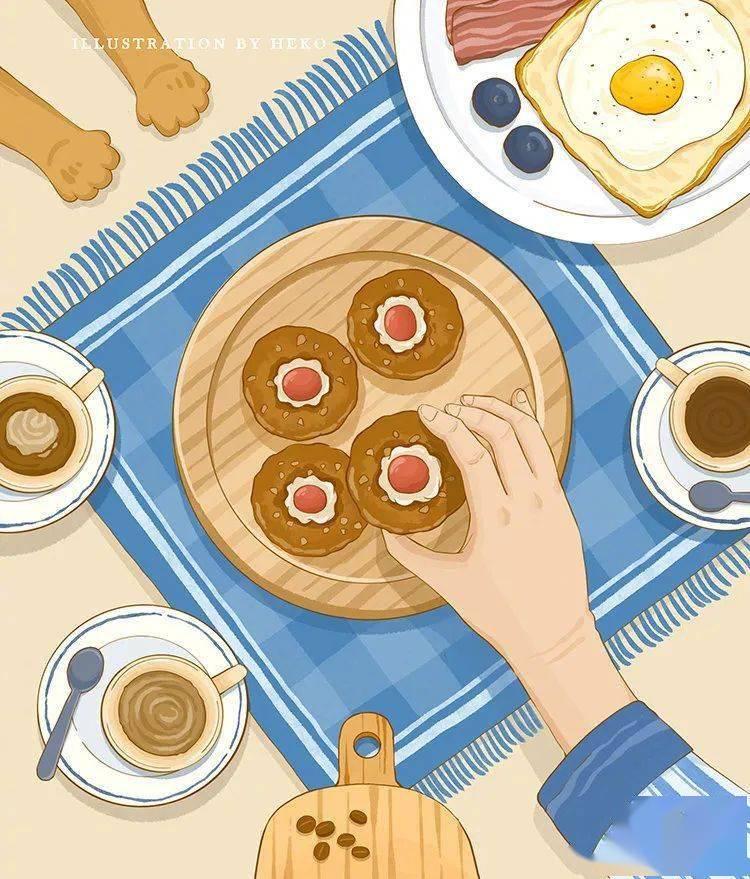 插画 美式的食物简绘画,有内味儿