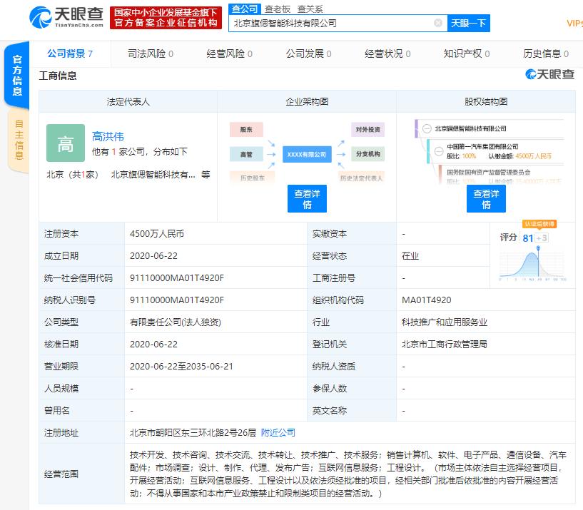 中国第一汽车集团有限公司成立旗偲智能科技公司注册资本4500万人民币