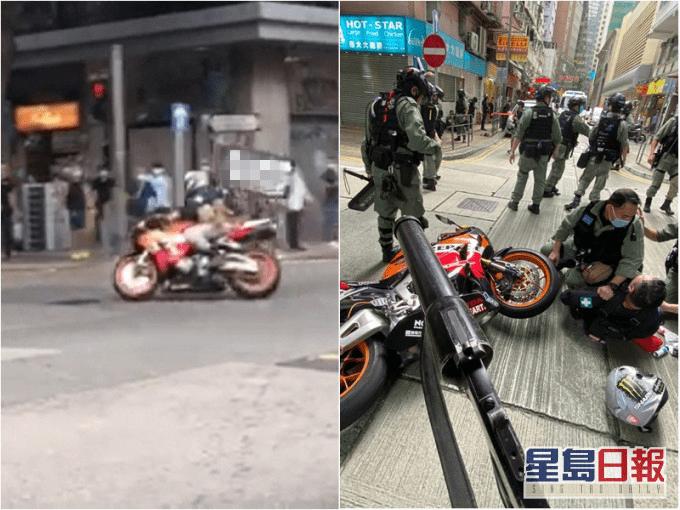 暴徒骑摩托撞警员,被正式控告违反港区国安法下的煽动他人分裂国家罪和恐怖活动罪