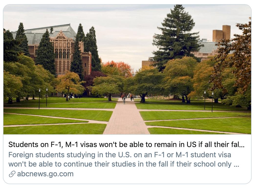 只上网课就得回国?美国留学生新政引批评
