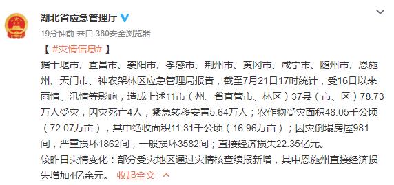 湖北近日雨情汛情造成十堰等地78万余人受灾,4人死亡