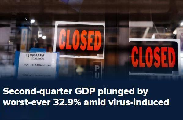 【二季度GDP创历史最大降幅 美股全线低开道指跌近200点】