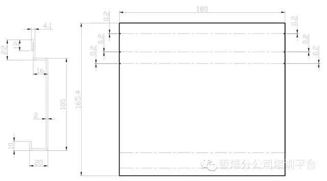 2、厚板折弯定位工艺孔开口尺寸为1X0