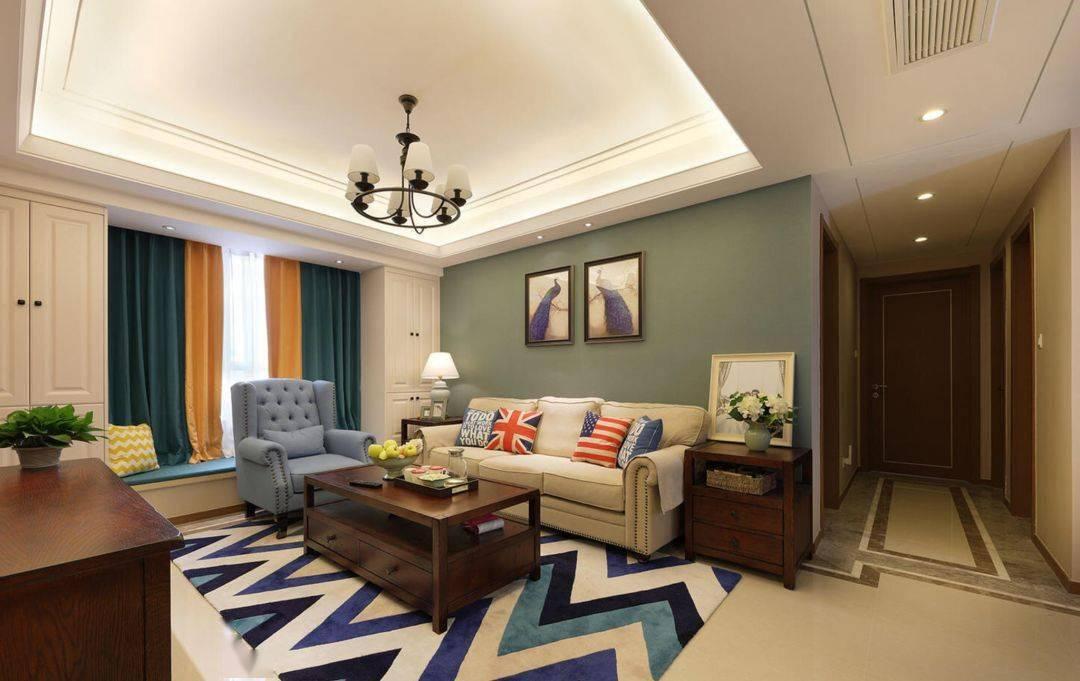 現代美式起居室,所以配上沙發,華麗的檔次是