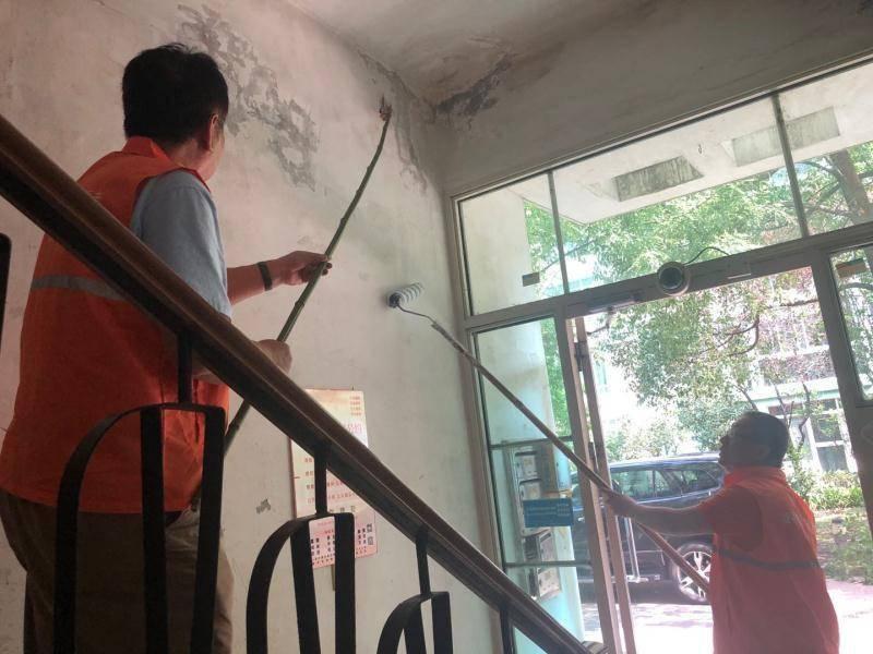 清理走廊 刷墙 打造浦东汤桥文明!