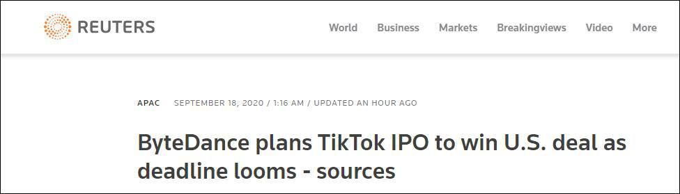 英媒:TikTok将在12个月内启动赴美上市