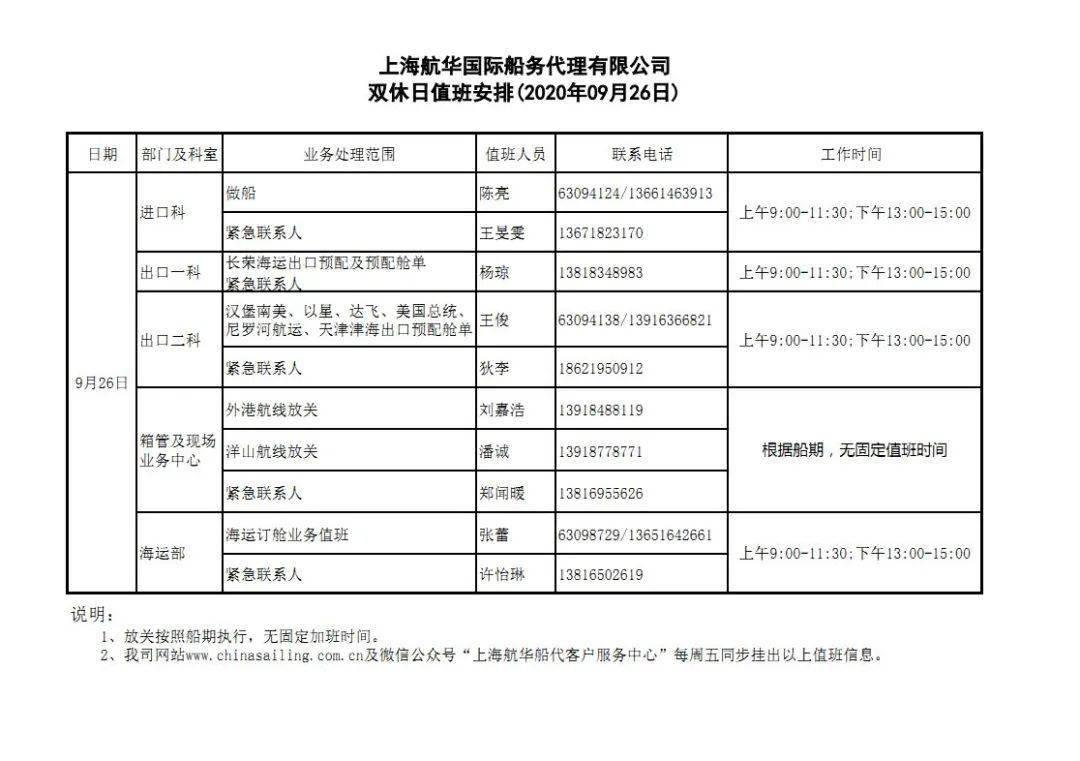 恒华船务代理周末轮班日程表(2020年9月26日)