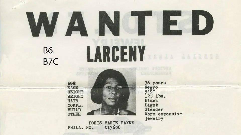 多丽丝·佩妮(Doris Payne)通缉令