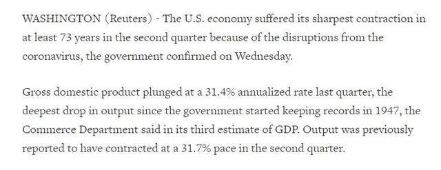 暴跌31.4%!美国二季度实际GDP创史上最大跌幅