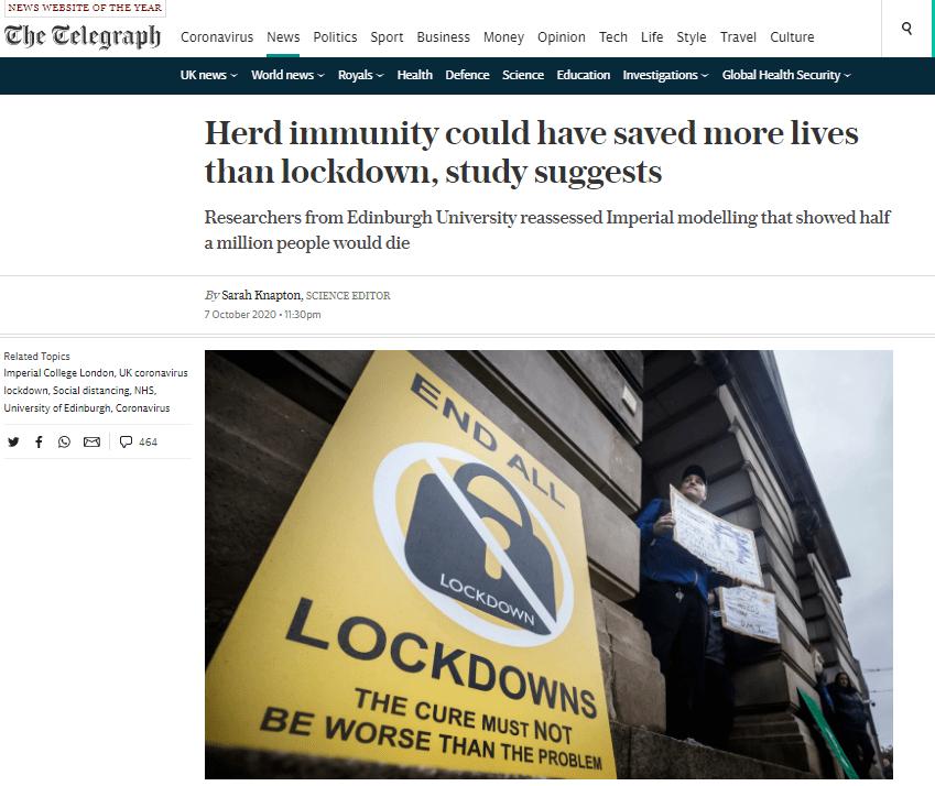 英媒称数千科学家呼吁结束对年轻人和健康人群封锁,支持群体免疫,网友:是胡话,别上当