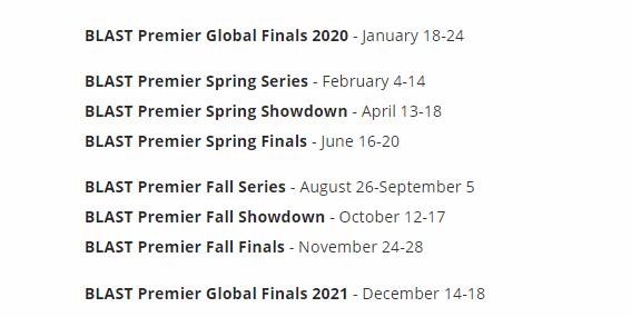 CSGO:BLAST公布2021年赛事排期 制定一个时间安排合理的赛程表