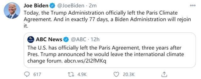 拜登:特朗普政府正式退出巴黎协定,拜登政府将重新加入