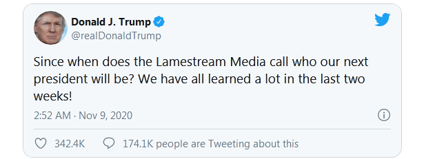 特朗普发推:什么时候由媒体来宣布下任总统了?