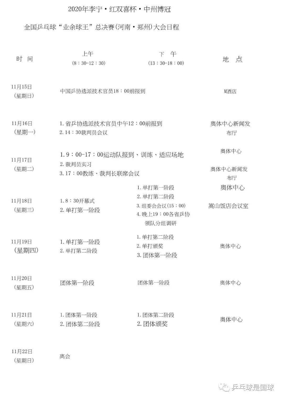 """2020全国乒乓球""""业余球王""""总决赛赛程+参赛名单"""