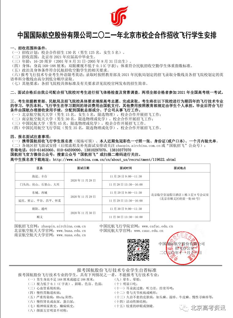 招飞丨国航、南航、东航2021年在京招飞计划发布!