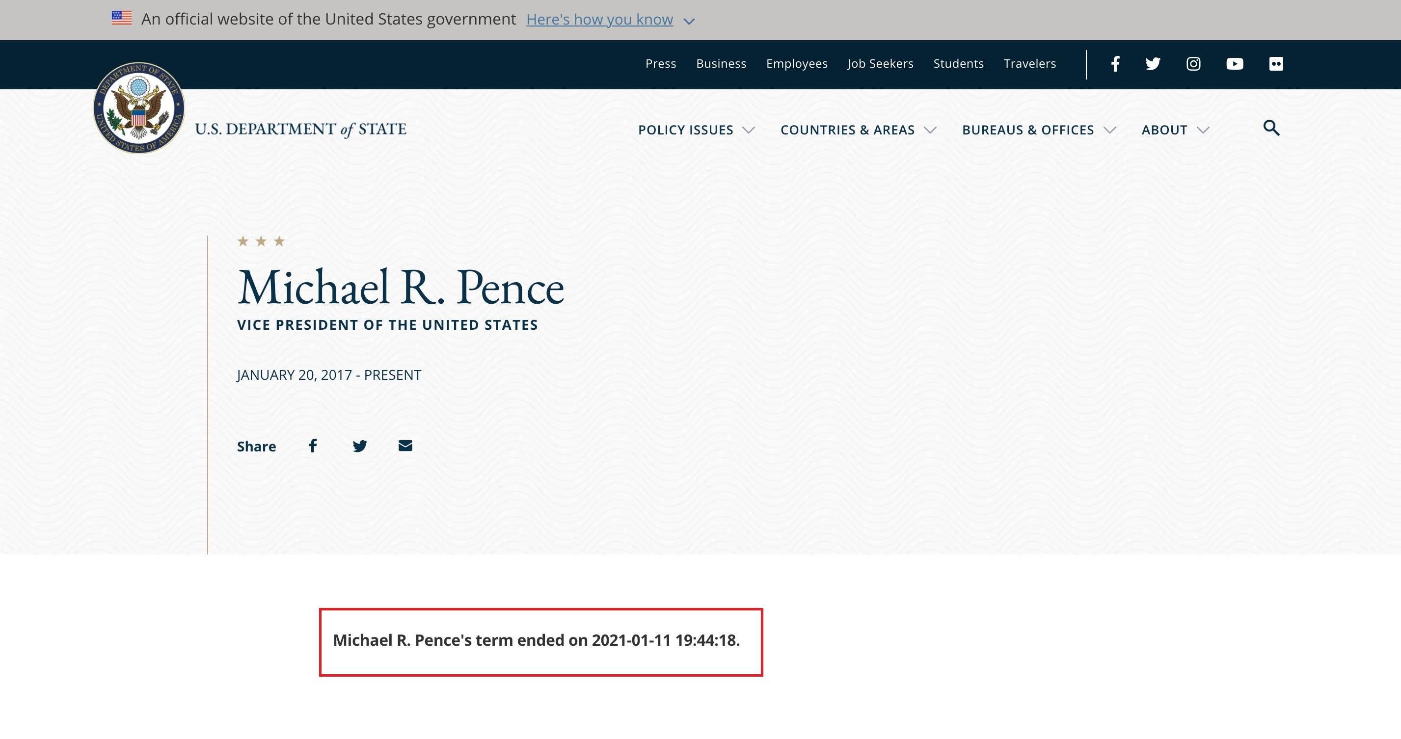 美国国务院网站曾一度更新特朗普简介:任期到1月11日结束