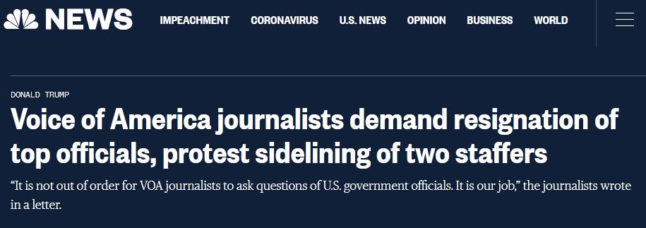 """""""蓬佩奥事件""""发酵,""""美国之音""""24名记者联署要求领导辞职"""