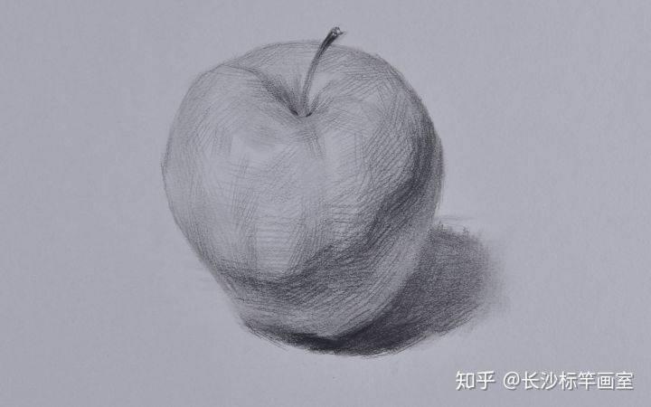 素描苹果步骤图(苹果一步一步构图线素描图)