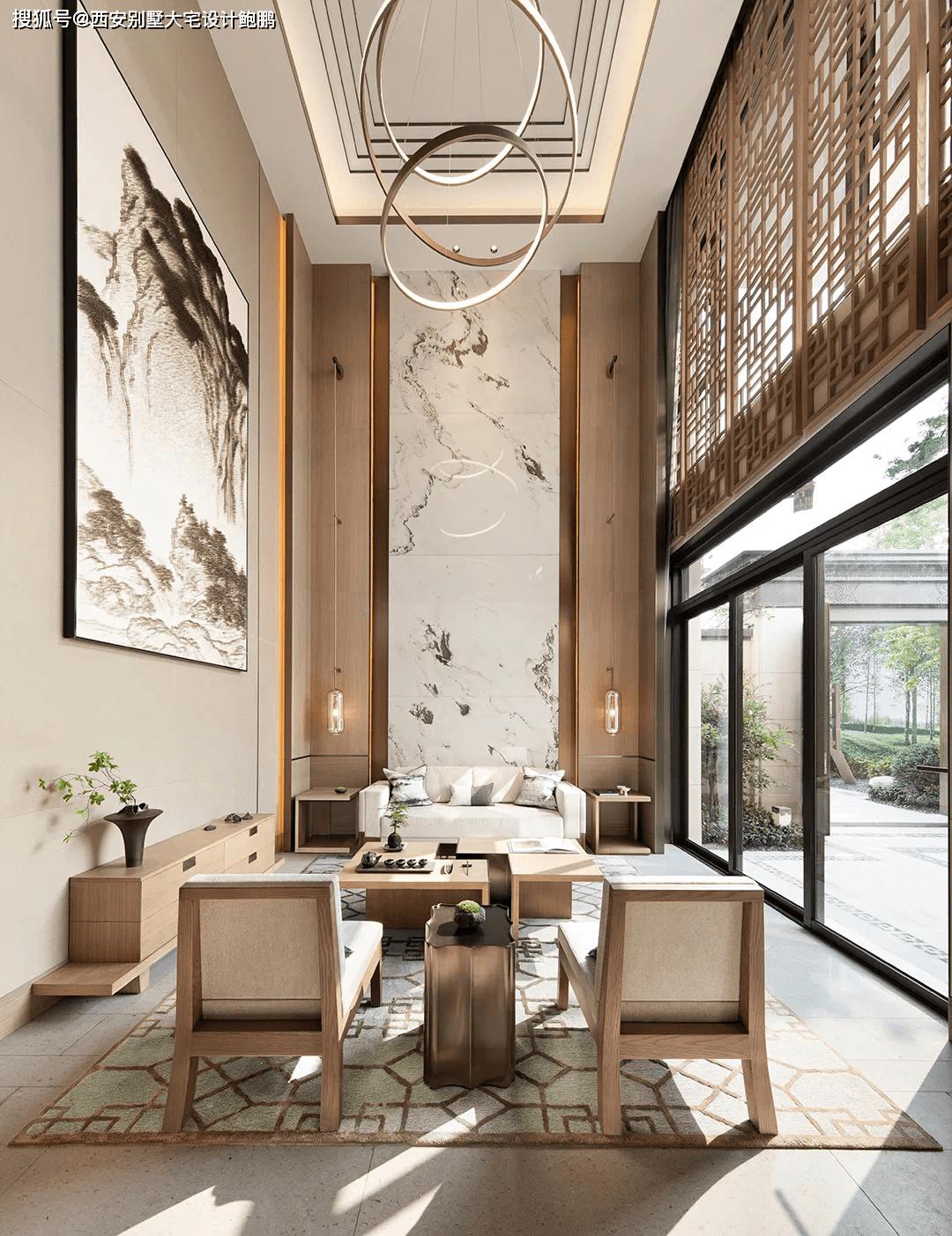 西安别墅大宅设计:新中式诗性东方,设计从建筑、景观概念切入。