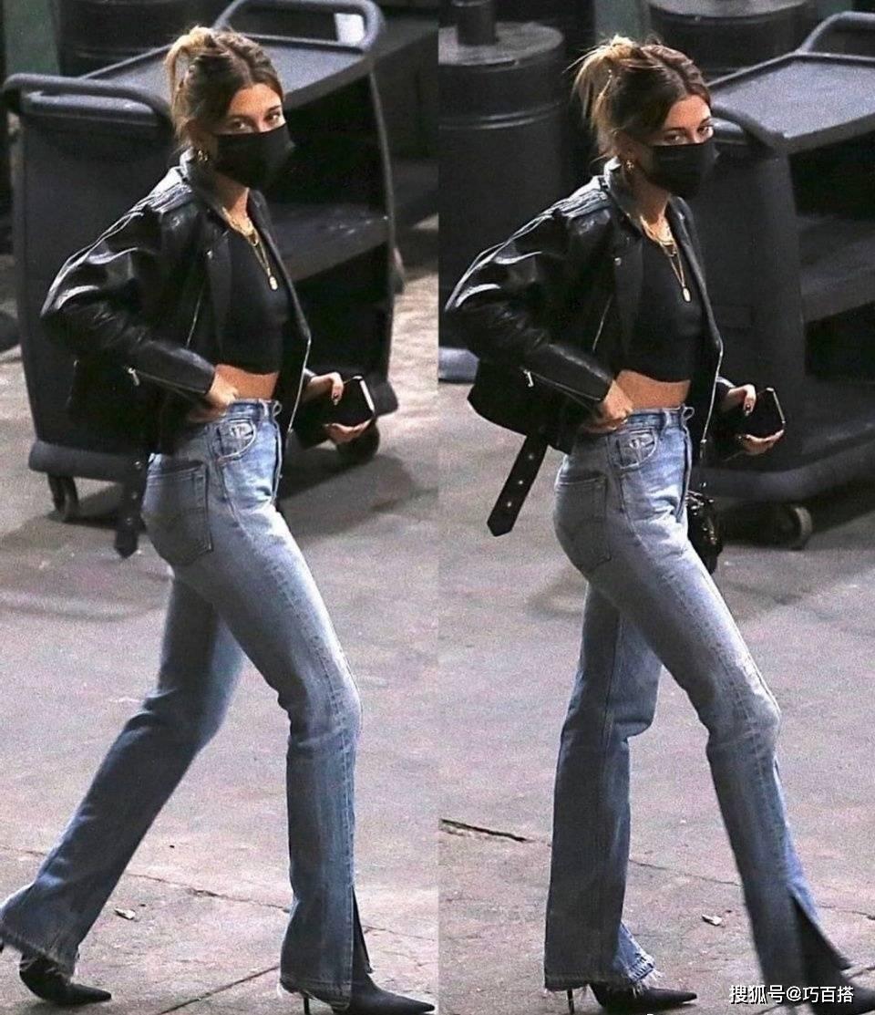 原创             海莉太爱牛仔裤了!紧身修身阔腿都能驾驭,小知性拿捏得死死的