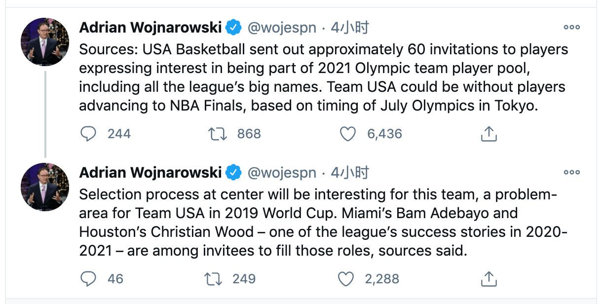 伍德将获男篮约请,沃尔有望复出