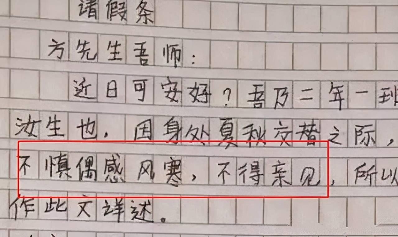 """学生写""""文言文""""请假条,老师回复瞩目,网友:文化人请假"""