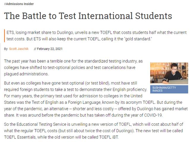 巨變:針對國際學生,ETS計劃推出全新托福考試!