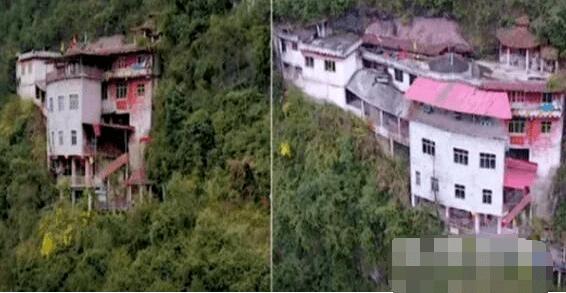 无人机航拍贵州深山发现悬崖上有栋楼 凑近拍下罕见画面