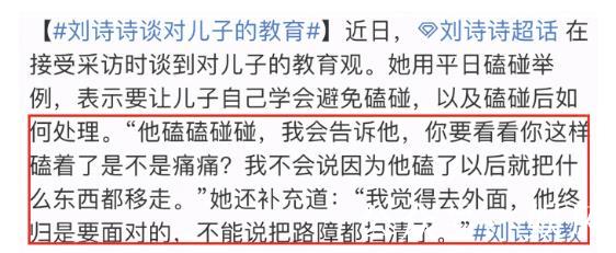 刘诗诗自曝育儿方式,让2岁儿子自己处理磕碰,因儿子性格困扰