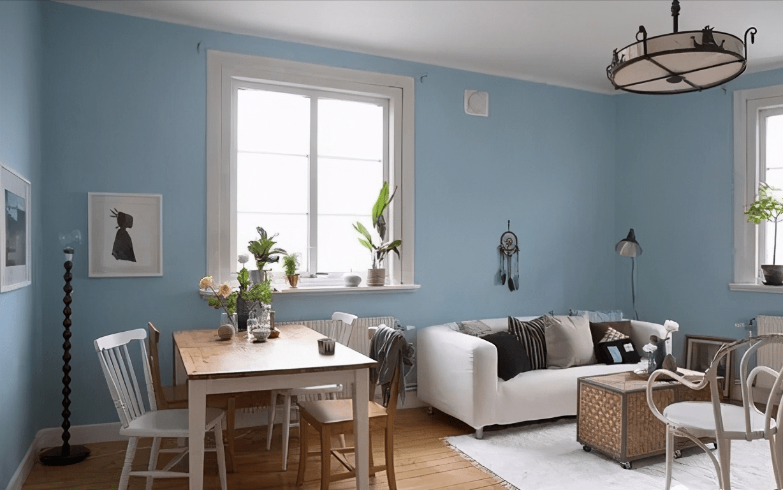 清新舒適的北歐風一居,客餐廳藍白組合簡潔時尚,臥室超溫馨,美!