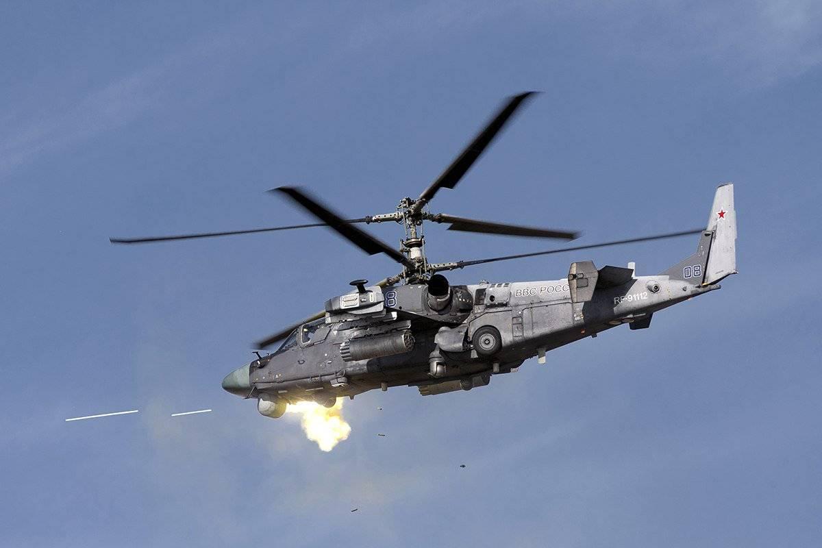 The Ka-52's firing its cannon