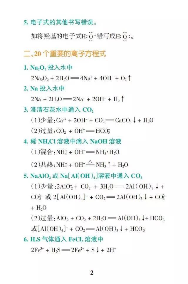 2022高三一轮复习必读:高中化学高频考点全汇总
