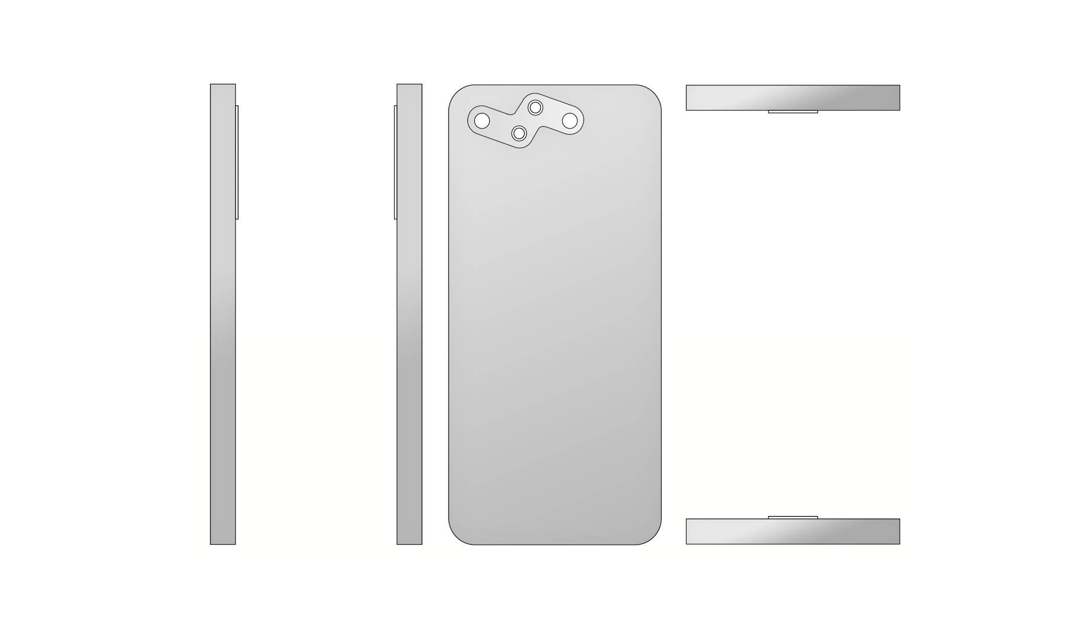 原创             小米手机新专利曝光:正面屏下摄像+后置雷电状摄像模组!