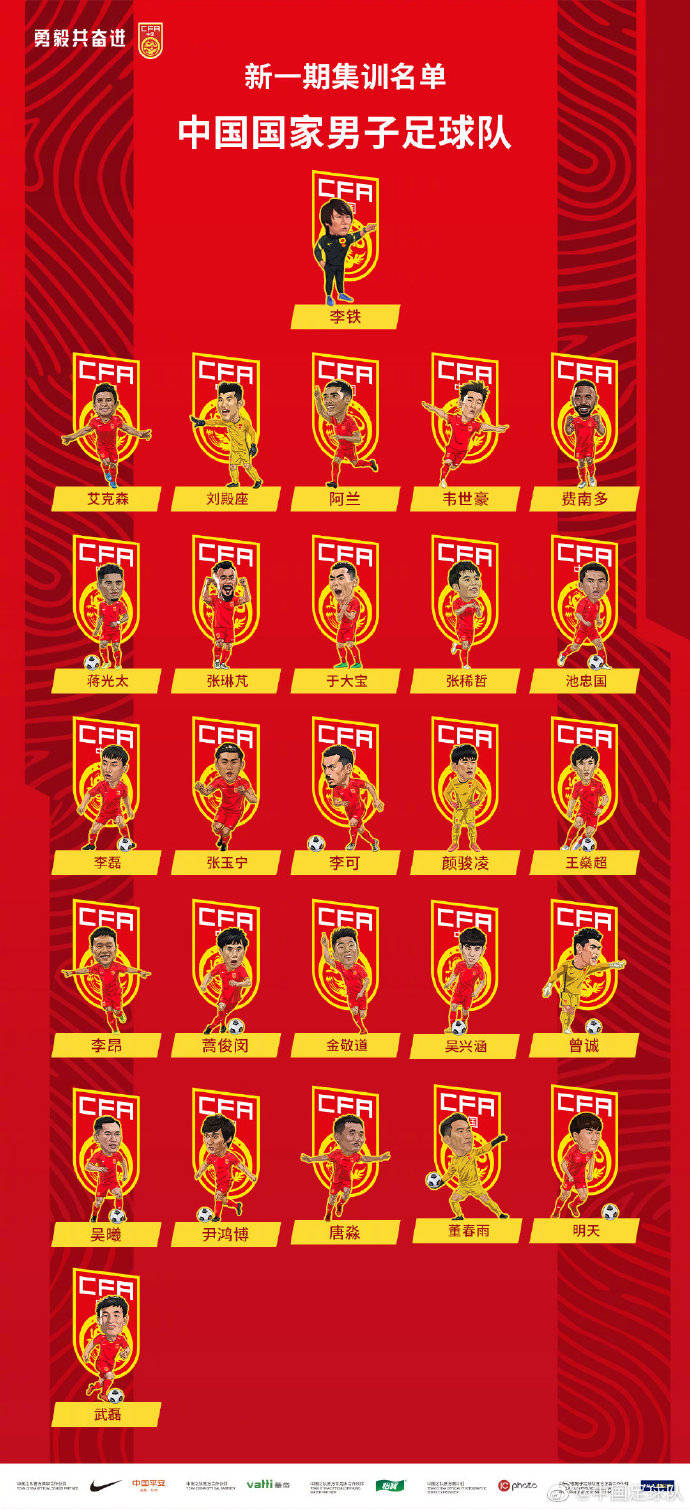 粤媒:国足名单以卡通形象出现 是足协有意推进文